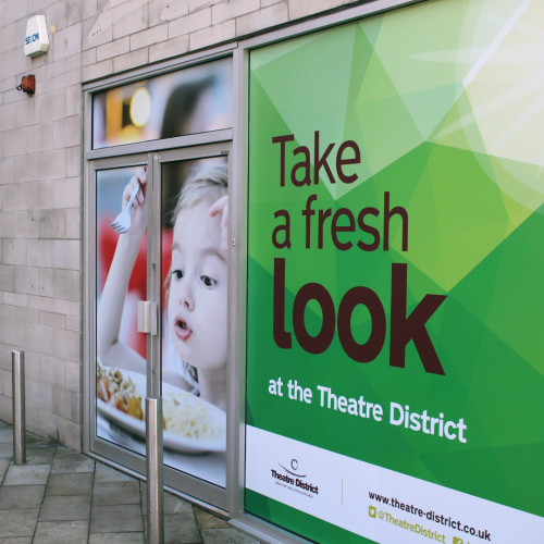 Milton keynes theatre district window graphics